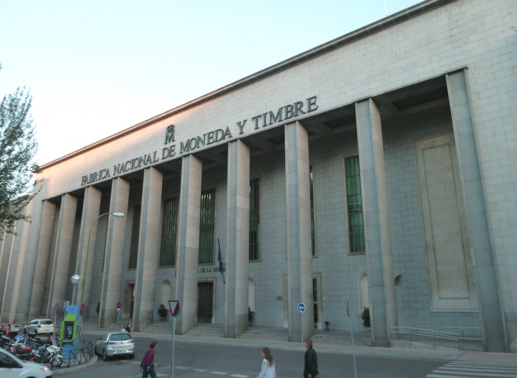 North facade of the Spanish Royal Mint, in Madrid. Building from 1964.